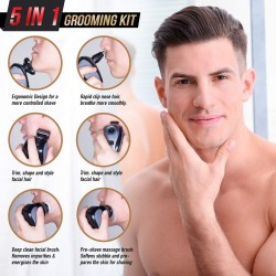5-in-1 Electric Razor for Men, Wet&Dry Rechargeable Mens Rotary Shavers, 4D Floating 5 Head Cordless Grooming Kit with Waterproof IPX7, Beard, Nose, Ear, Body Hair Trimmer, Face Cleaning Brush