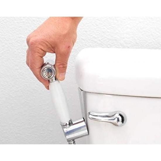 Hand-Held Bidet Sprayer For Toilet, Bidet Attachment For Toilet, Portable Bidet Kit, Luxury Shattaf, Toilet Hose, Sprayer For Toilet, Sprayer Bidet, Solid Brass Bidet - White