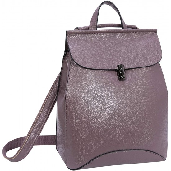 Leather Backpack Casual Backpacks Daypack for Womens and Ladies (Black)