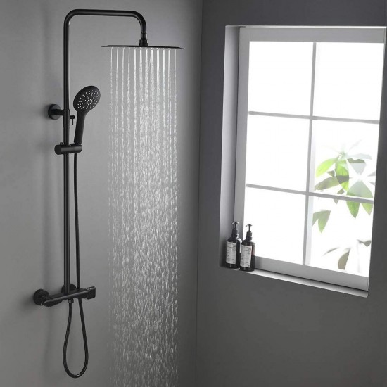 Thermostatic Rectangular 12 x 8 Inch Rainfall Shower System with Handheld Shower (Exposed Mounting, Matte Black)