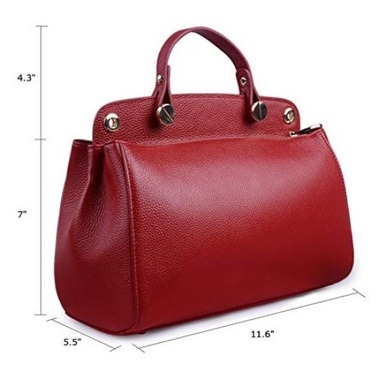 Genuine Leather Designer Handbag for Women Doctor Style Top-handle Tote Cross Body Shoulder Bag Black