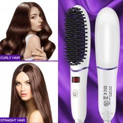 Hair Straightening Brush, Ionic Hair Straightener Brush with 5 Adjustable Temperatures, LED Display, Anti Static, Mini Straightening Comb for Home, Travel