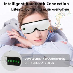 Eye Massager with Heat, Electric Eye Massager Vibration, Air Pressure for Relieve Eye Strain Dry Eye Headaches Bluetooth Music Improve Sleep, Eye Massage Rechargeable Wireless and Foldable