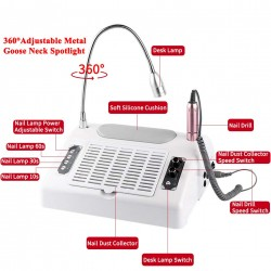 Professional 5 in 1 Electric Nail Drill Machine 30000rpm with Nail Dust Collector for Acrylic Nails Manicure -48/96W UV LED Nail Lamp for Gel Nail Polish, Nail Dryer & Efile with 360° Desk Lamp