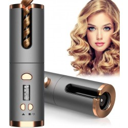 Cordless Auto Hair Curler, Automatic Curling Iron with 6 Temperature & Timer, Rechargeable and Portable Curling Wand Magic Styling Tools, Fast Heating Ceramic Barrel for Travel, Home