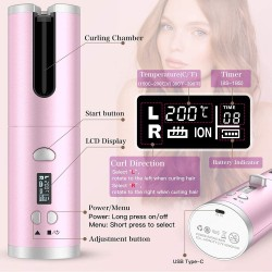 Cordless Auto Curler, Automatic Curling Iron with 6 Temp & Timer Settings, Auto Rotating Ceramic Hair Curler, Portable Rechargeable Curling Iron Wand for Hair Styling (Pink)