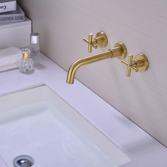 Bathroom Faucet, Double Handle Wall Mount Bathroom Sink Faucet and Rough in Valve Included Brushed Gold