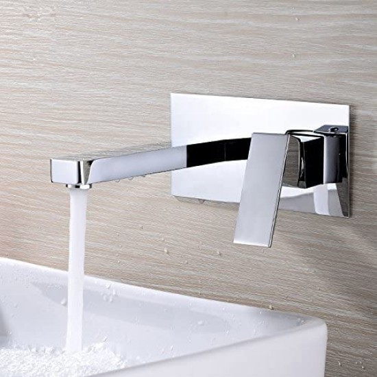 Wall Mount Bathroom Faucets, Vessel Sink Faucet Chrome Solid Brass Rough in Valve Included