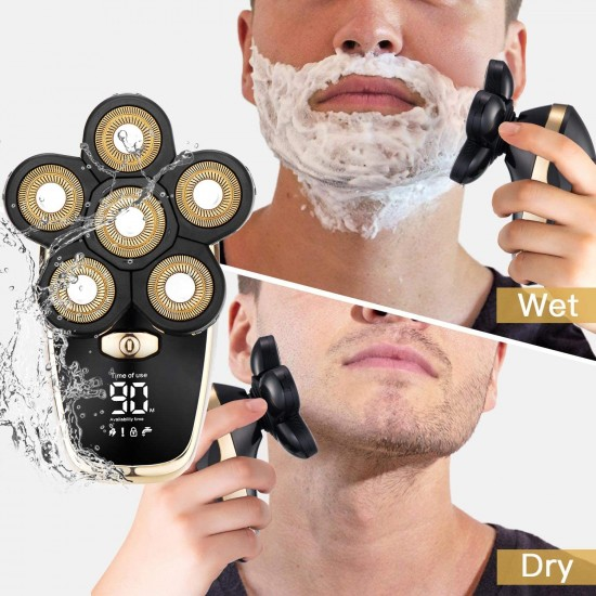 Upgrade Electric Razor for Men, Bald Head Shaver 5 in 1 Grooming Kit Mens Cordless Electric Shaver Rechargeable Face and Head Shavers with LED Display Wet & Dry Razor Waterproof Hair Trimmer