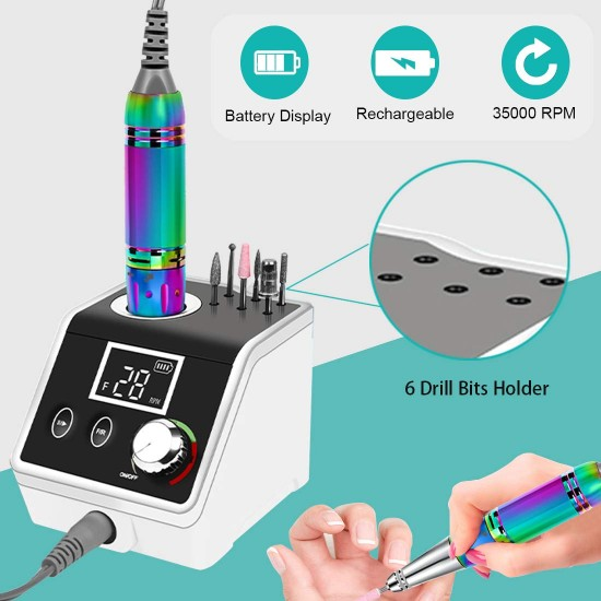 Professional Rechargeable 35000 rpm Nail Drill with Foot Pedal,Nail Drills for Acrylic Nails, Professional 35000rpm,Nail Drill Kit, Electric E File Scamander,High Speed, Low Heat