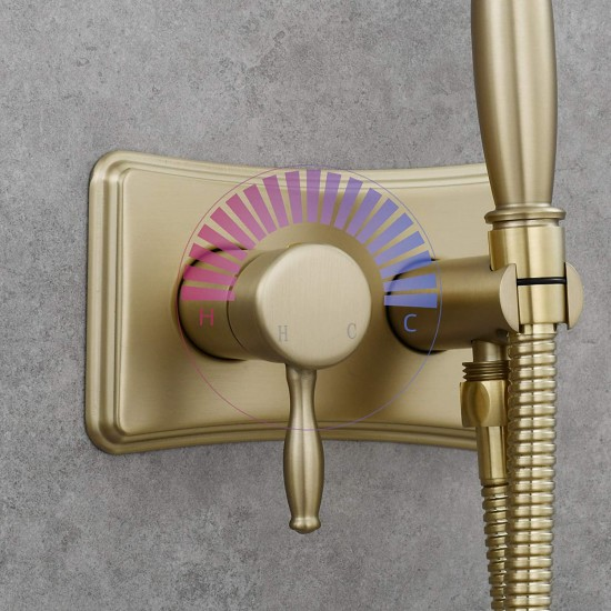 Brushed Gold Hot and Cold Bidet Sprayer Head Handheld Diaper Sprayer Shattaf Bidet Attachment for Toilet