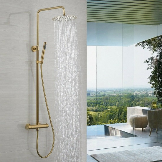 """Thermostatic Tap Brushed Gold 8"""" Rain Shower Head Bath Faucet Wall Mounted Set"""