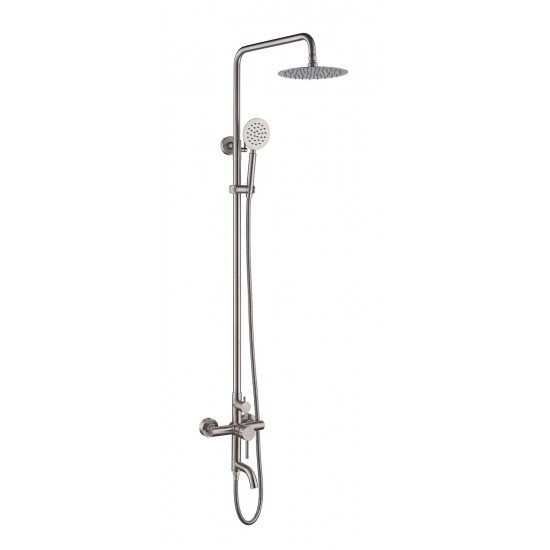 """Outdoor Shower Fixtures,SUS 304 Stainless Steel Wall Mounted 3 Functions Shower Systems Faucet Set with 7.9"""" Rain Shower,Brushed Nickel"""