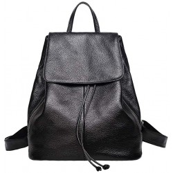 Genuine Leather Backpack for Women Elegant Ladies Travel Shoulder Bag Black