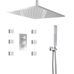 Thermostatic LED 16inch shower Faucet with 6 Body Sprays  Bathroom Shower System with Hand Shower chrome finish