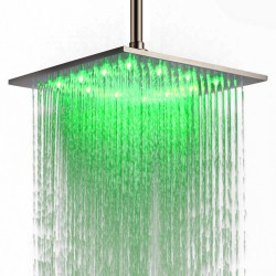 Luxury Bathroom 12 Inch Large Square Top Sprayer Stainless Steel LED Rainfall High Pressure Shower Head Adjustable Ceiling Mounted,Brushed Nickel