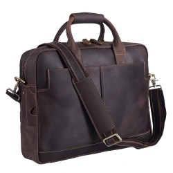 Genuine Full Grain Leather Men's 16 Inch Laptop Briefcase Messenger Bag Tote Brown