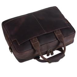 Genuine Full Grain Leather Men's 16 Inch Laptop Briefcase Messenger Bag Tote Brown