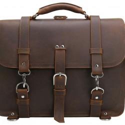 Men's Full Grain Leather 16'' Laptop Briefcase Shoulder Messenger Bag Brown