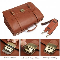 Genuine Leather Briefcase Messenger for Men Business Travel Duffle Laptop Flapover Bag Fit 14 inch Laptop Brown