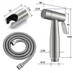 Women's Washing Spray Gun Set With Stainless Steel Wire Drawing Women's Washing Faucet Toilet Brushed Nickel