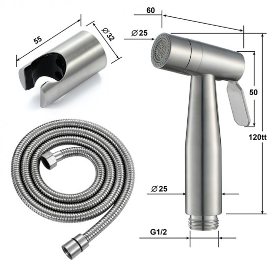Women's Washing Spray Gun Set With Stainless Steel Wire Drawing Women's Washing Faucet Toilet Brushed Nickel