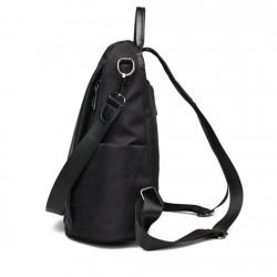 Women Backpack Purse Waterproof Nylon Anti-theft Rucksack Lightweight Shoulder Bag Black