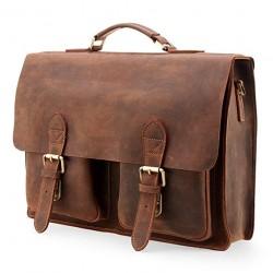 """Handmade Genuine Leather Satchel Bag 15"""" Laptop Briefcase Messenger Bag for Men Brown"""