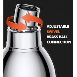 High Pressure Shower Head - 3 Inch Anti-leak Fixed Chrome Showerhead - Adjustable Metal Swivel Ball Joint